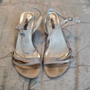 Unlisted Silver Strappy Heels